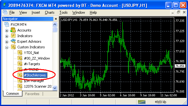 Custom indicator in MetaTrader Navigator
